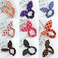 100 teile/los Headwear Kaninchen Ohr Ring Bogen Seil Korea Korean Haar Großhandel Verkaufende Nette Spielerische Welle Blume Zubehör Für Frauen