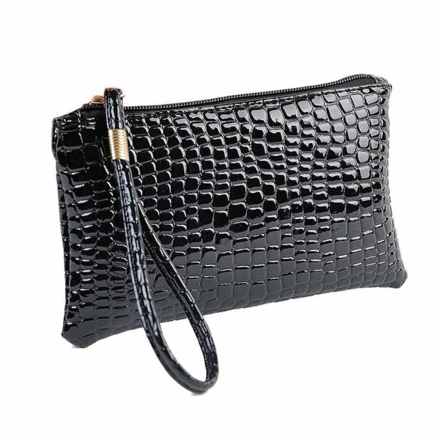 Handbag Bag Crocodile Women 2019 New Fashion Bag Casual Wild Leather Clutch  Light Convenient Shopping Bright Color Coin Purse#S