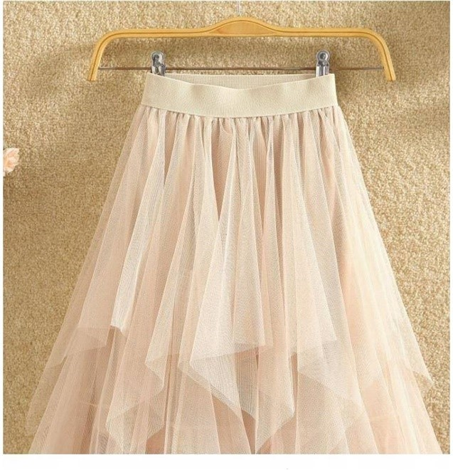 Women irregular Tulle Skirts Fashion Elastic High Waist Mesh Tutu Skirt Pleated Long Skirts Midi Skirt Saias Faldas Jupe Femmle 17