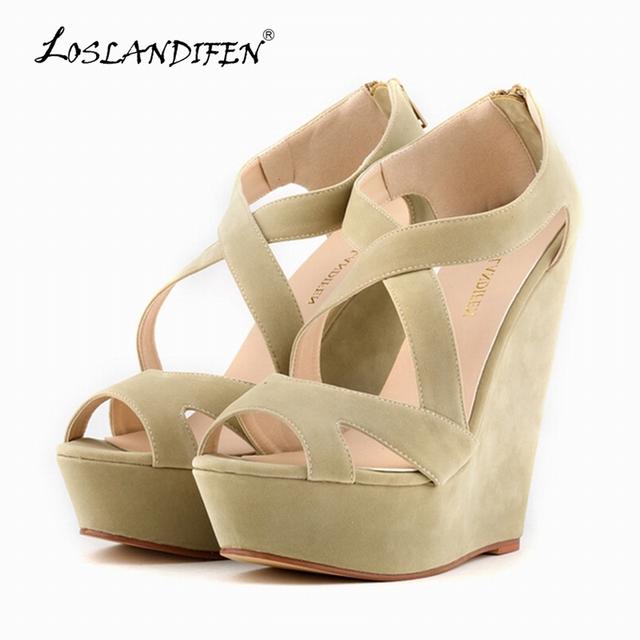 Loslandifen moda de veludo plataforma PEEP TOE de salto alto sapatos de cunha sandálias 391-10VE