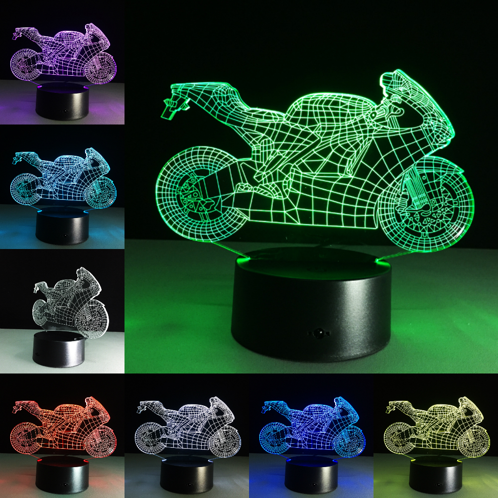 Motor <font><b>Car</b></font> Table lamp Touch Nightlight 7 Colors Changing Motorcycles Sleeping <font><b>Light</b></font> Acrylic USB <font><b>3D</b></font> <font><b>LED</b></font> Lamp Children's Day Gift image