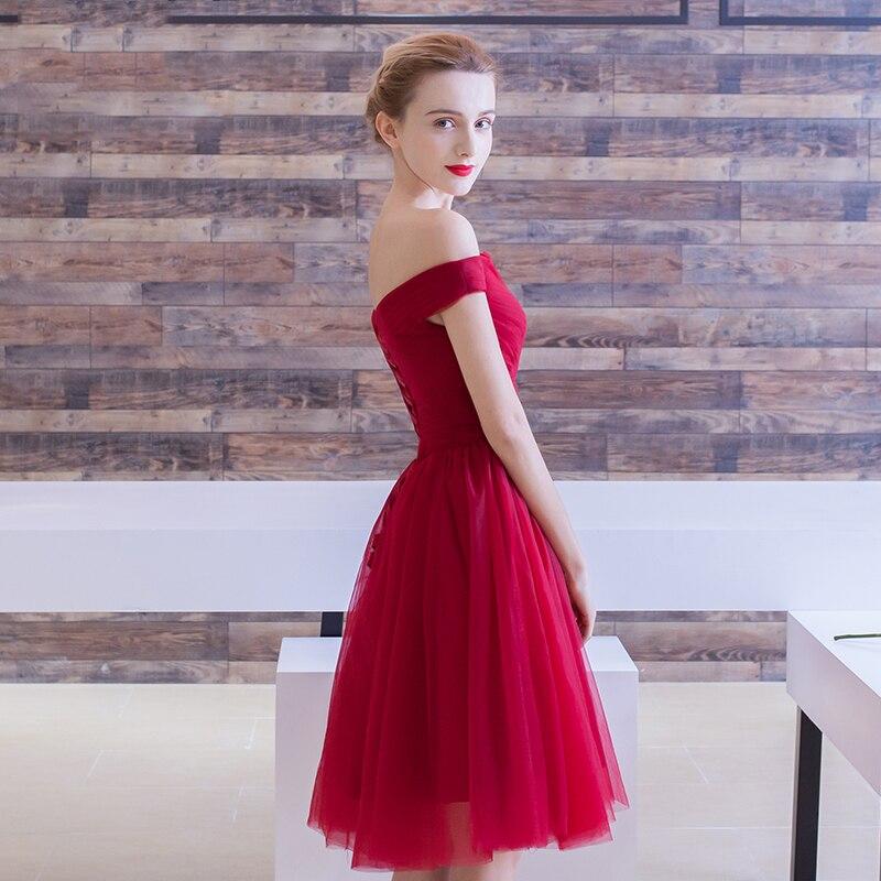 Off The Shoulder Tulle Burgundy Short Prom Dresses Under 50 Cheap