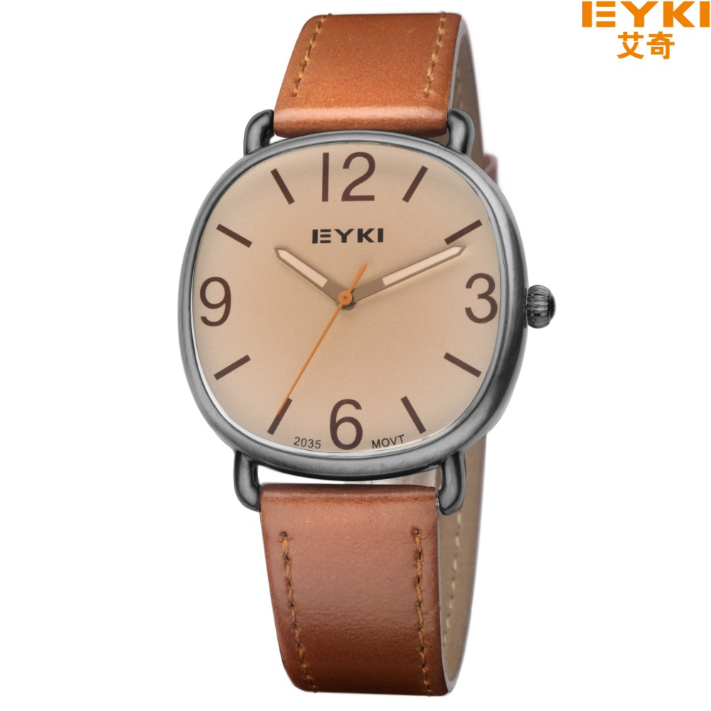 Eyki Brand Genuine Leather Strap Men's Wrist Watches Casual Fashion Simple Square Dial Quartz Watch Antique Watches montre homme eyki h5018 high quality leak proof bottle w filter strap gray 400ml