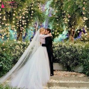 Image 2 - Indémodable dentelle corsage robes de mariée 2019 à manches longues Tulle amovible survêtements élégantes robes de mariée Noivas ZW153