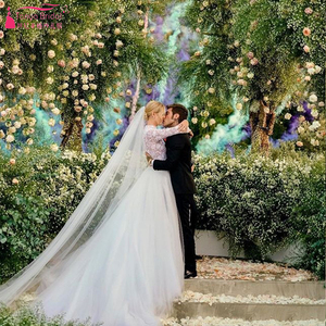 Image 2 - Tijdloze Kant Lijfje Trouwjurken 2019 Lange Mouwen Tulle Afneembare Overskirts Elegante Bruidsjurken Noivas ZW153