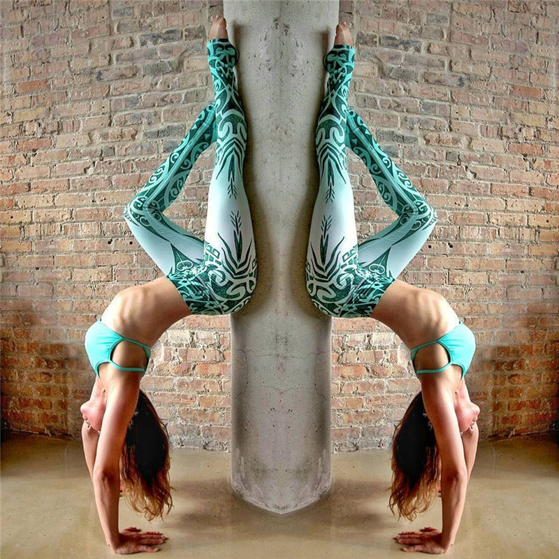 Фитнес с принтом штаны для йоги колготки Леггинсы Бег спортивный зал Для женщин колготки Йога Леггинсы быстросохнущая дышащие брюки