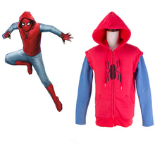 Spider-Man:Homecoming hoodie cosplay Cotton Men's Sweater 2017 Spiderman Peter Park Hoodie Shirt Red Hero Battle Outf