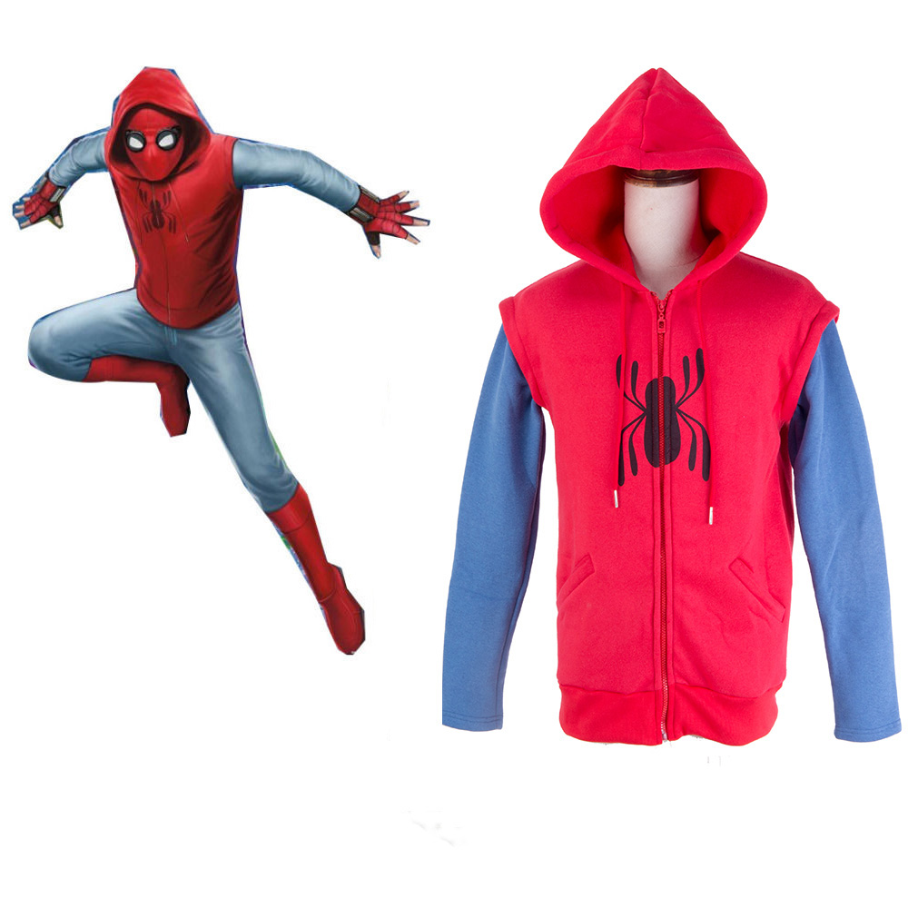 Spider-Man:Homecoming hoodie cosplay Cotton Mens Sweater 2017 Spiderman Peter Park Hoodie Shirt Red Hero Battle Outf