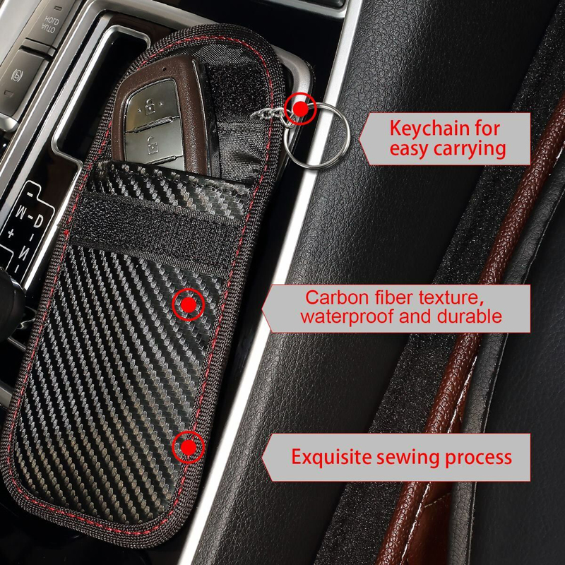2 Pack Car Key Fob RFID Signal Blocking Bag Antitheft Car Key Pouch with Stainless Steel Hanging Ring Faraday Bag