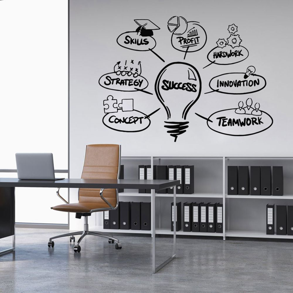 Hot Word Success Office Wall Sticker Vinilos Decorativos Para Paredes For Computer Office Wall Decoration Removable Quotes Decal