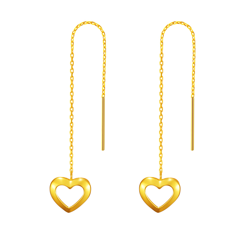 New Arrival 24K Yellow Gold Dangle Earrings Women Heart Dangle Earrings 0.95g gold plated stone asymmetry dangle earrings