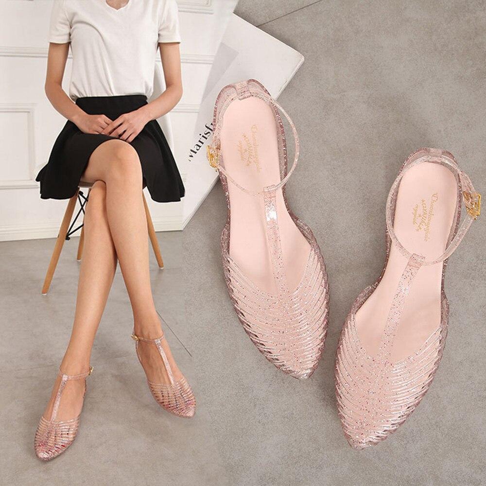 Women Sandals 2019 New Arrival T strap Non Slip Outdoor Beach Women Jelly Shoes Pointed Toe Innrech Market.com
