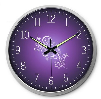 Purple 14 inches round luminous sitting room bedroom wall clock