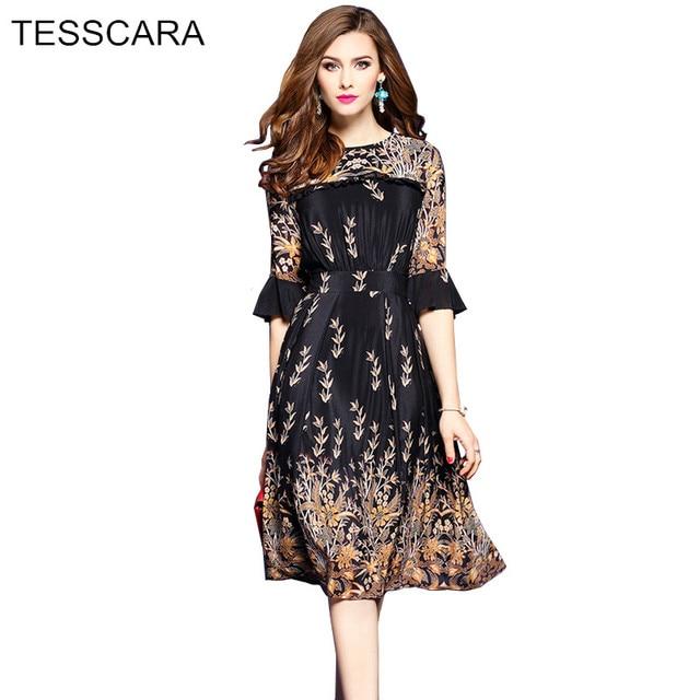 Tesscara mujeres de primavera y otoño elegante ruffle dress robe ...