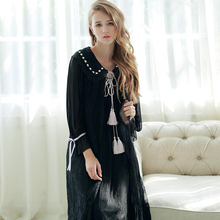 Princess Lace Long Sleeping Dress Female Sweet White Black Robes+Nightdress Two-Piece Vintage Royal Women Sleepwear SA16055