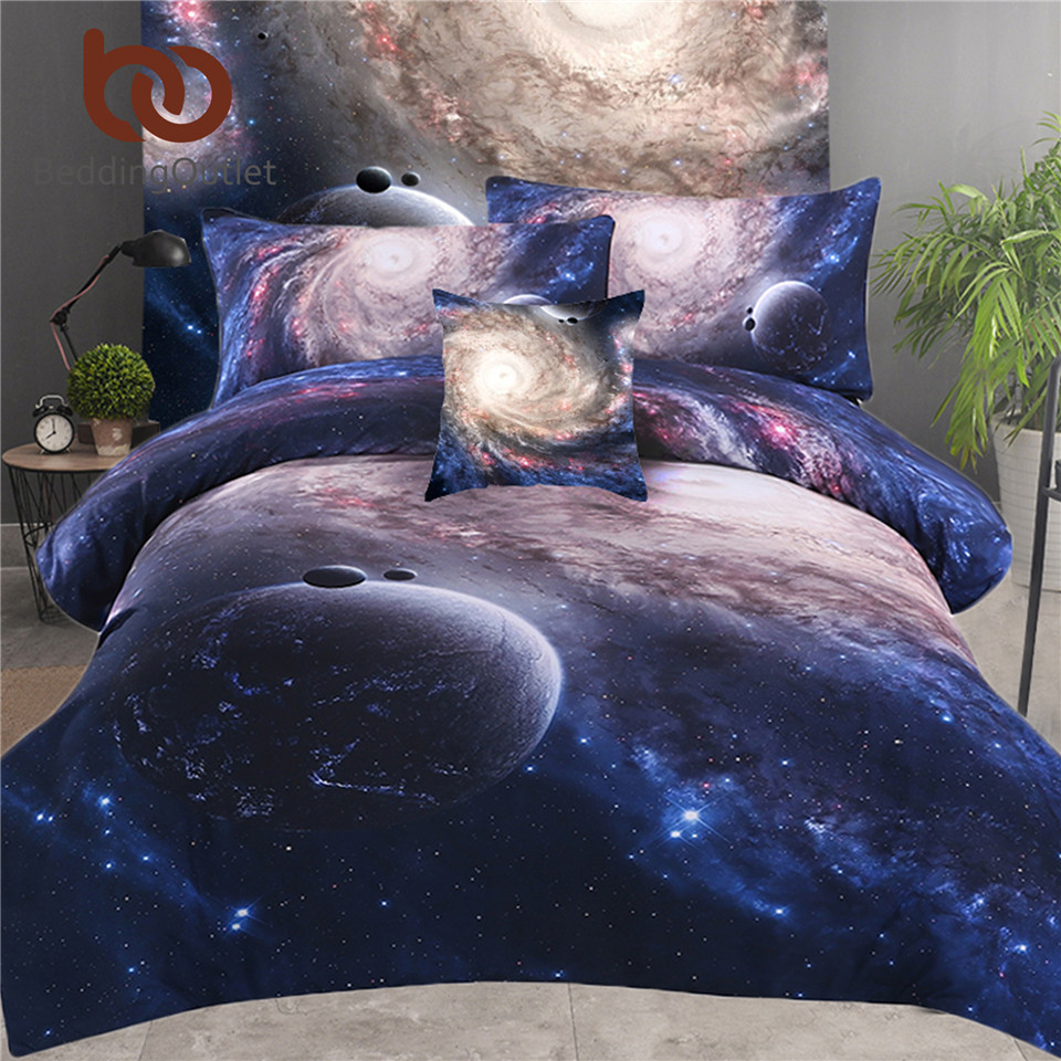 BeddingOutlet 5pcs Bed in a Bag Galaxy 3D Bedding Set Kids Home Textiles Twin Full Queen King Nebula Printed Soft Bed Set