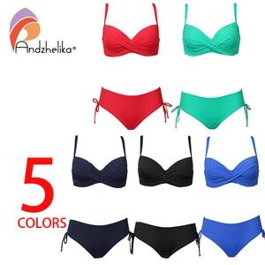 Image 5 - Andzhelika 2020 Plus rozmiar Bikini Set jednokolorowy strój kąpielowy Halter Bikini lato plaża nosić krzyżowe sznurowania stroje kąpielowe średnio wysoka talia strój kąpielowy