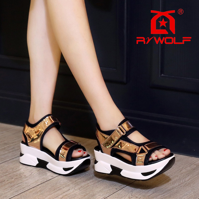a5be40529960 RZWOLF 2016 summer New style trendy unique top quality patent gold PU  Fashion sport platform sandals women