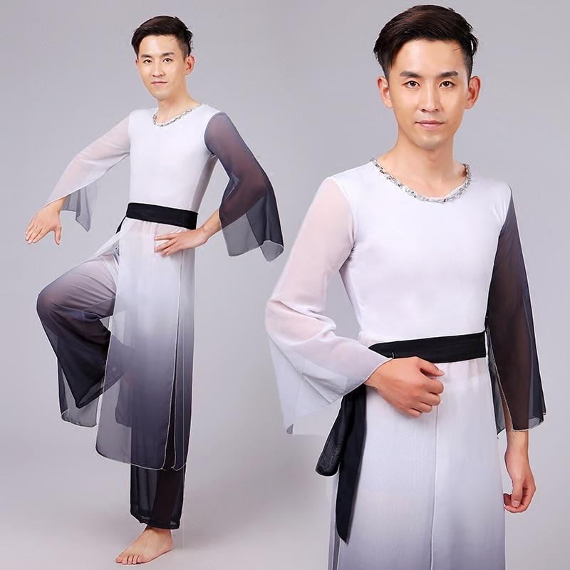 Muži Čínský taneční kostým Čínský natioanalský tanečník Nosit top + kalhoty Mužský ventilátor Deštník Taneční kostým Stage Performance 18