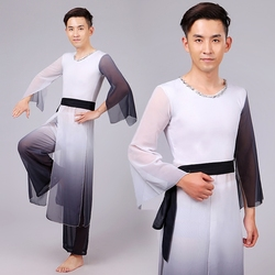 Men chinese dancing costume chinese natioanal dancer wear top pants male fan umbrella dance costume stage.jpg 250x250