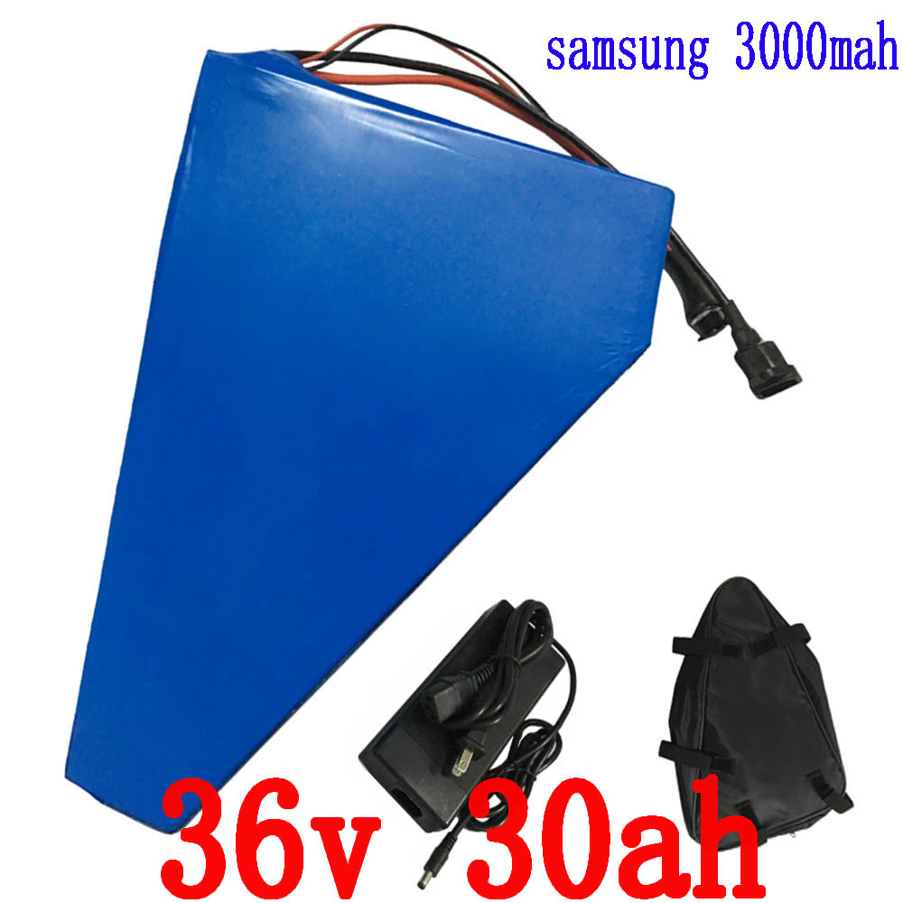 36V 1000W Triangle battery 36V 30AH Electric Bike 36V Lithium ion battery pack with bag Use samsung 3000mah cell 42V 2A charger free shipping 48v 30ah 2000w lithium electric bike battery use for samsung 3000mah cell with 54 6v 2a charger and 50a bms