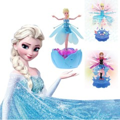 Hot Plastic Princesa Flying Fairy Elsa Anna Dolls Infrared Induction Control New Fashion Girl Toy With LED Music Electronic Toys