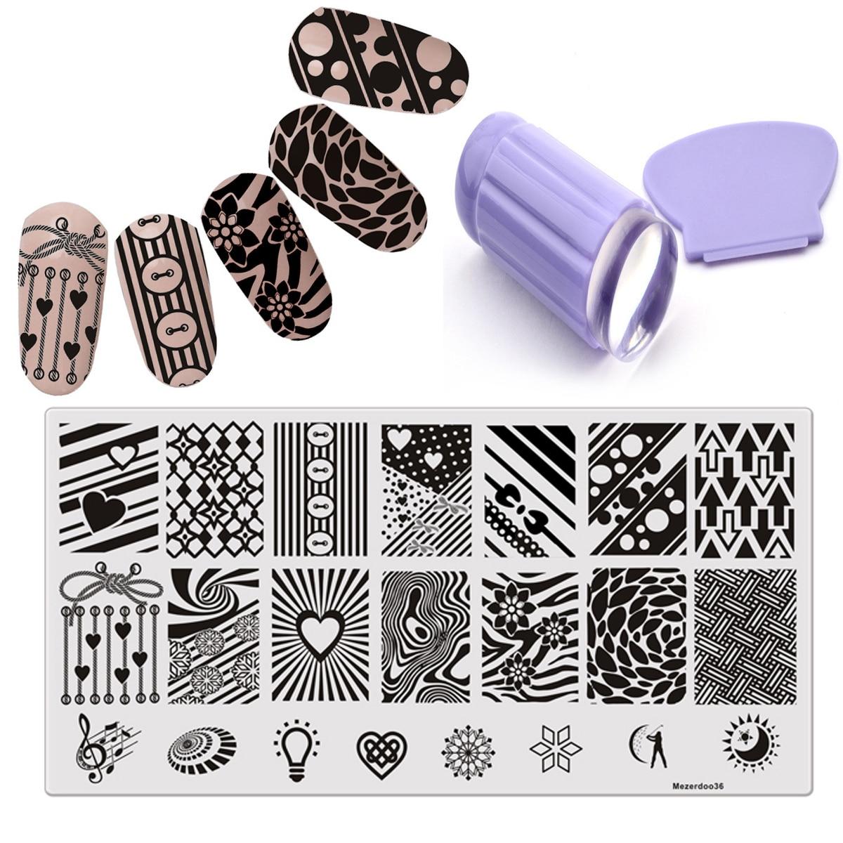 Flor Sirena Estampado Nail Art Stencil DIY Imagen Clavo Stamper Plate - Arte de uñas