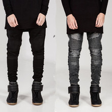 2016 Fashion Designer Jeans Mens Biker Denim Jeans High Quality Skinny Jeans Men Slim Motorcycle Pants Trousers
