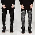 2016 del Diseñador de Moda Para Hombre Del Motorista Denim Jeans Skinny Jeans Hombres Delgado Motocicleta Pantalones Pantalones de Alta Calidad