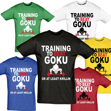 Dragon Ball Gym Cool Men's T Shirt Training to Beat Goku Or At Least Krillin DBZ Printed Top Tee Shirts Camiseta Sport T-shirt