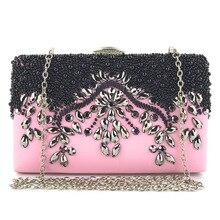 Single Shoulder Pink Color Black Beading Decorating LUXURY E