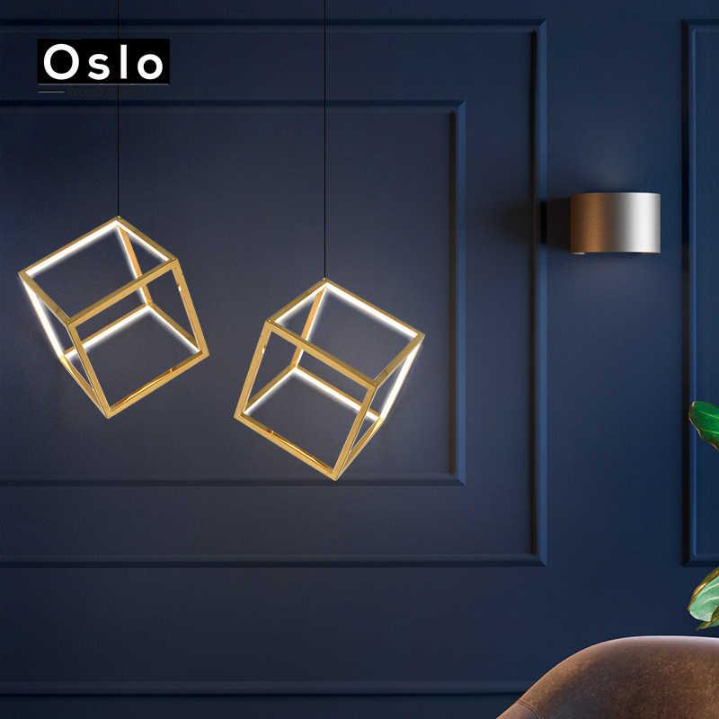 Постмодерн из нержавеющей стали светодиодный геометрический квадратный подвесной светильник скандинавский Золотой столовая гостиная подвесной светильник для загородного дома
