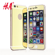 Front and Back Premium Mirror Electroplating Tempered Glass Screen Protector Film Cover Cases For iPhone 6 6s 5 5s 5se 4 4s