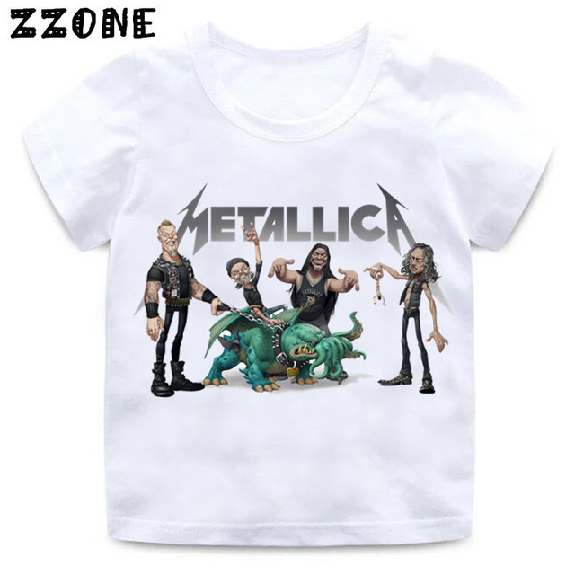 f43260833659c2 Jongens & Meisjes Print Heavy Metal Rock Metallica T-shirt Enfant Fashion  Zomer t-