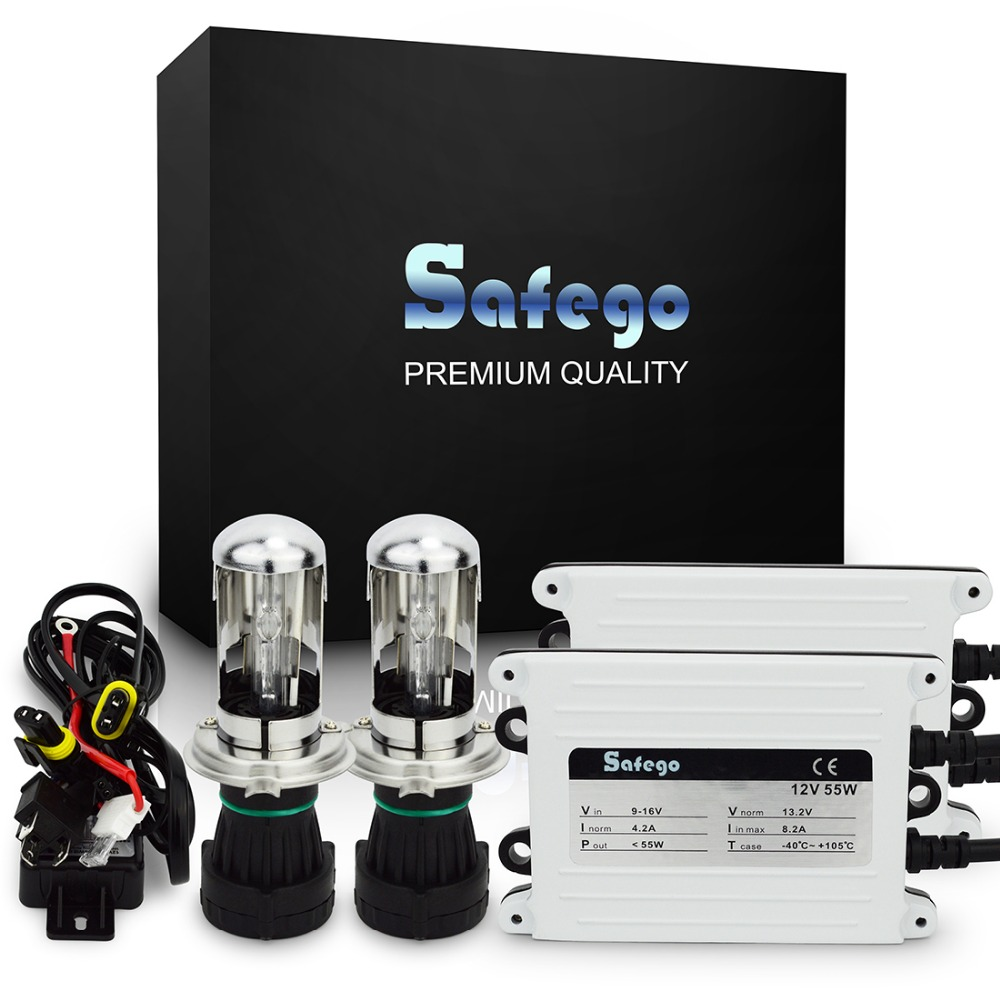 Safego AC ballast 55W HID kit xenon H4 bi xenon H4 kit bixenon Hi Lo 6000K 55W 4300K 6000K 8000K headlight bulbs g500 55w xenon hid kit xenon h4 1 4300k 6000k slim ballast hid xenon kit 55w headlight bulbs kit xenon h4 55w