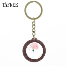 TAFREE Carnation Flower Art Picture Vintage Wooden Pendent Keychain Glass Cabochon Key Chain Mother's Day Teacher's Gift KL81(China)