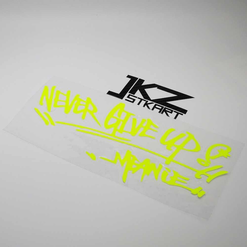 Jkz stkart vinyl die cut car sticker decal never give up signature 20 x 9 5 cm