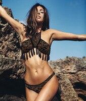 2016 Print Tassel Bikini Sexy Push Up Swimwear Print Bikini Brazilian Swimsuit Padding Bathing Suit Beachwear