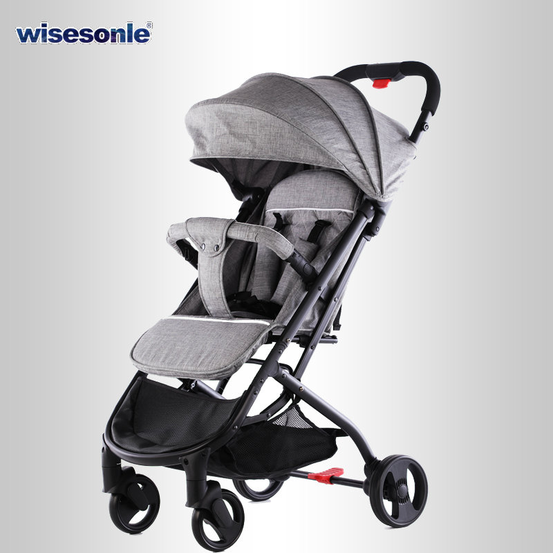 Baby Stroller Can Sit Reclining Stroller Lightweight Stroller Easy Folding Four Wheels Stroller