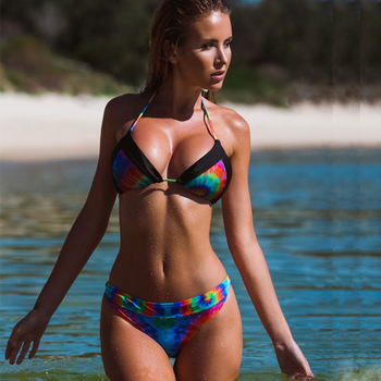 New Female Sexy Rainbow Printed Bikini Foreign Trade Split Agent Provocateur Swimsuit image