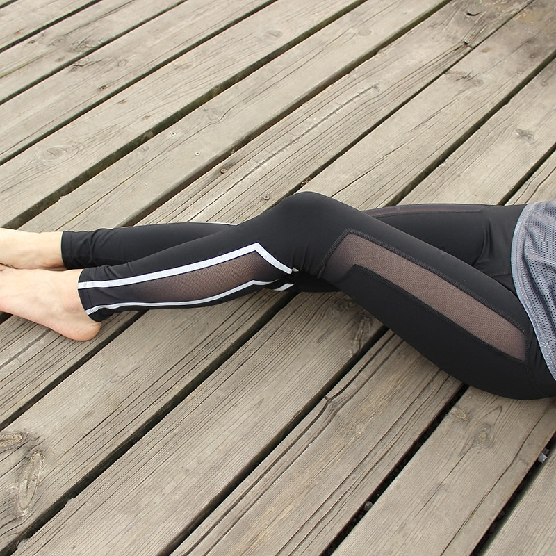 Summer thin section of the reflective strip irregular stripes yarn fitness yoga pants material running trousers thin cool