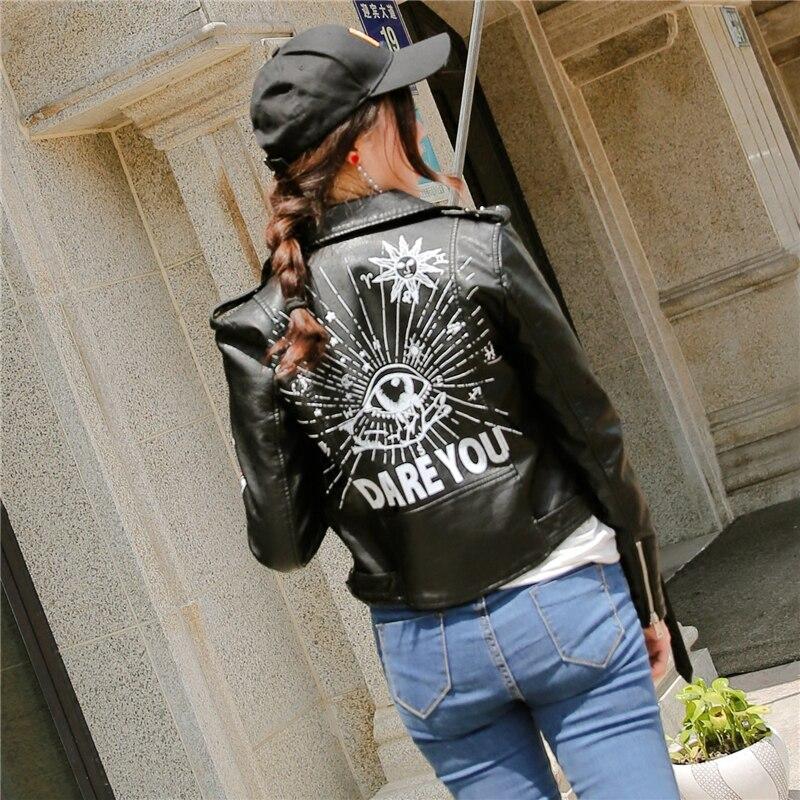 Graffiti En Automne Noir Veste Mode Punk Moto À Longues Manches Cuir Pu Lettres Motif Style Femmes Mince Printemps 2019 dwqYUx1fU