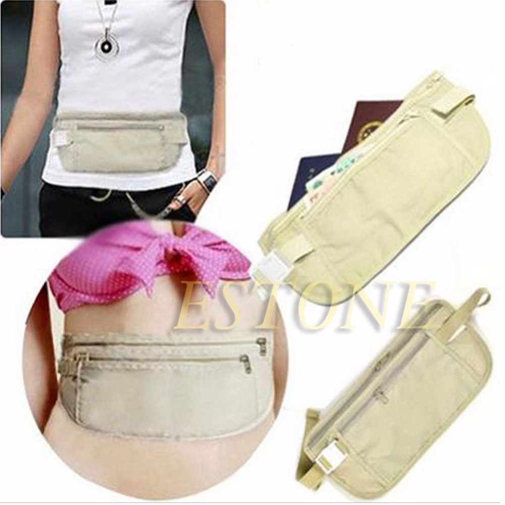 Cloth Travel Pouch Hidden Wallet Passport Money Waist Belt Bag Slim Secret Security Useful Storage
