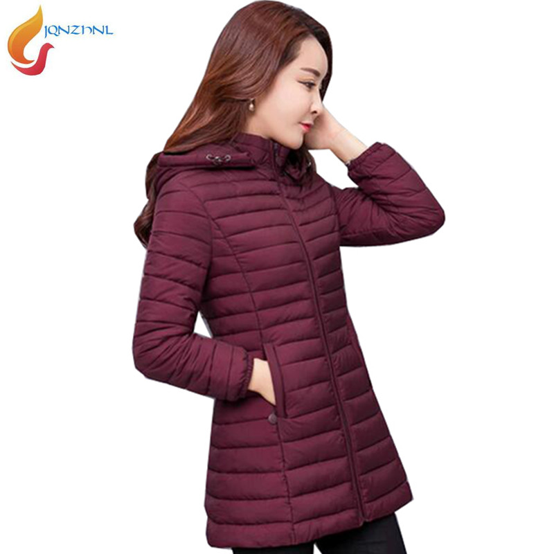 Women Winter Cotton Jacket 2019 Plus Size Medium Length Thin Section Warm Cotton-padded Coats Middle Age Solid Color Jacket G332