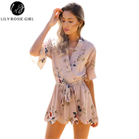 Boho Red Floral Print Ruffles Playsuits Women Elegant Autumn White V Neck Playsuits Rompers Sexy Beach