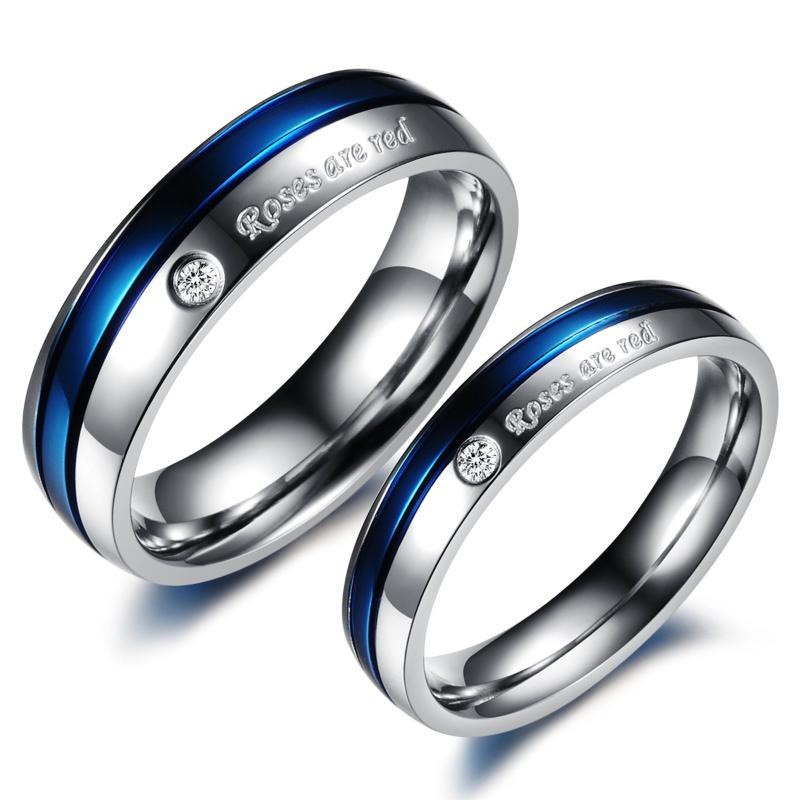 his and hers wedding ring set stainless steel jewelry blue couple rings wholesale pricechina - His And Hers Wedding Rings Cheap
