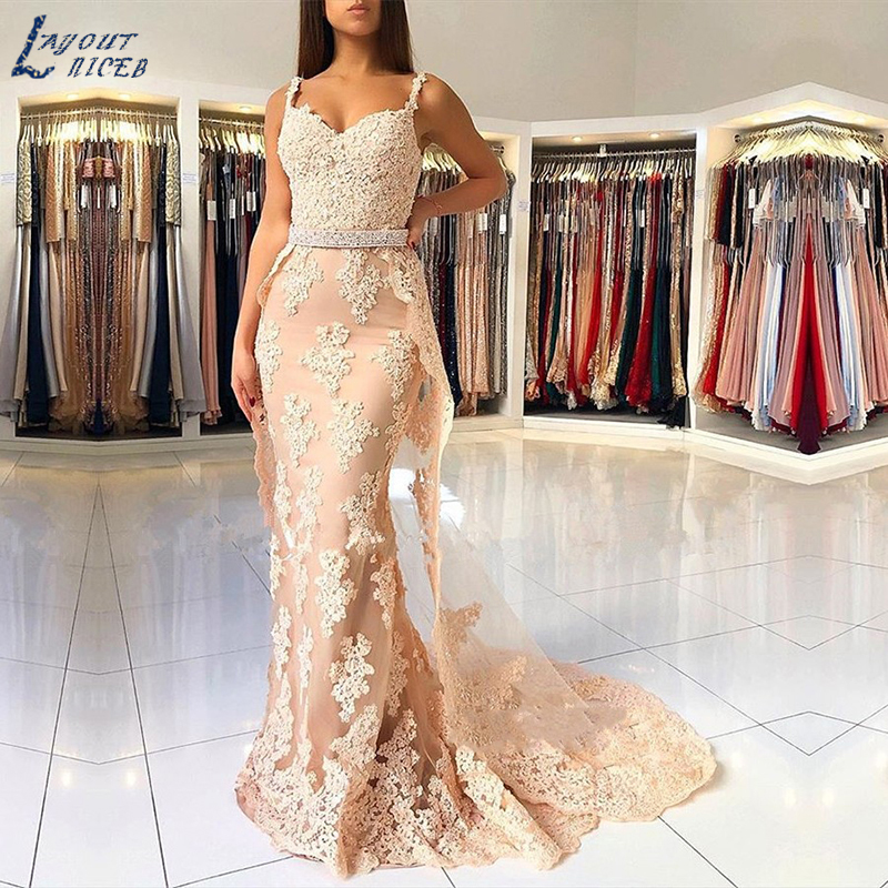 SHJ876 Sexy Mermaid Lace Evening Dresses 2019 Elegant Women Dress Evening Sweetheart Appliques Long Evening Gowns