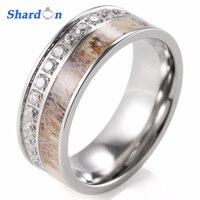Men S Outdoor Antler Ring Pure Titanium Eternity Band Ring With 30 CZ Diamonds Men S