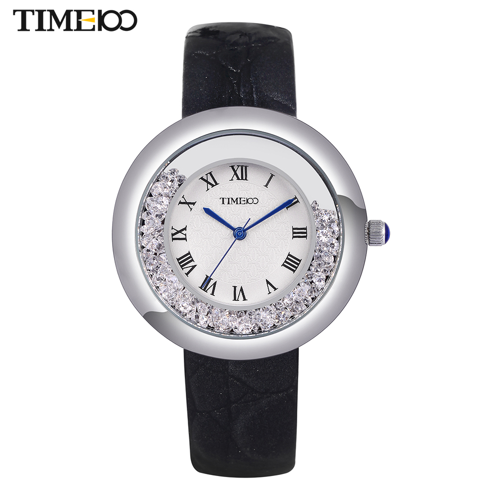 TIME100 Relógios Femininos de Quartzo Cinta de Couro Preto Cristal Fluindo Discar Grande Numeral Romano Relógios de Pulso para Senhoras