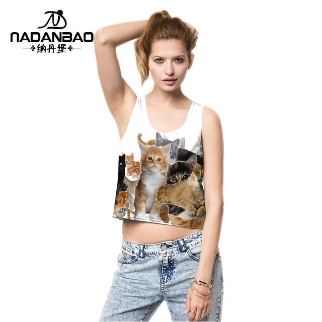71714d35baeac 2016 summer Cute cats digital print design sexy small tank tops crop top  blusa cropped feminino